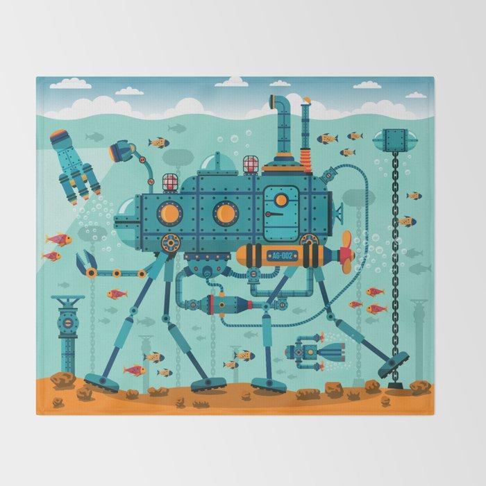 Cute Colorful Robot Underwater Scene Throw Blanket
