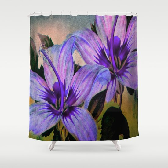 Vintage Painted Lavender Lily Shower Curtain