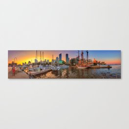 Boats at Sunset in Marina Quay West Canvas Print
