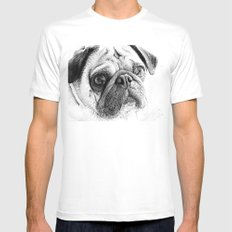 Cute Pug Art By Annie Zeno White SMALL Mens Fitted Tee