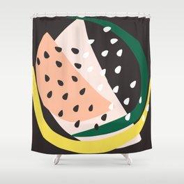 Abstract Print in Pink, Yellow and Black Shower Curtain