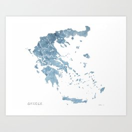 Greece watercolor map Art Print