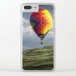 Hot Air Balloons over Green Fields Clear iPhone Case