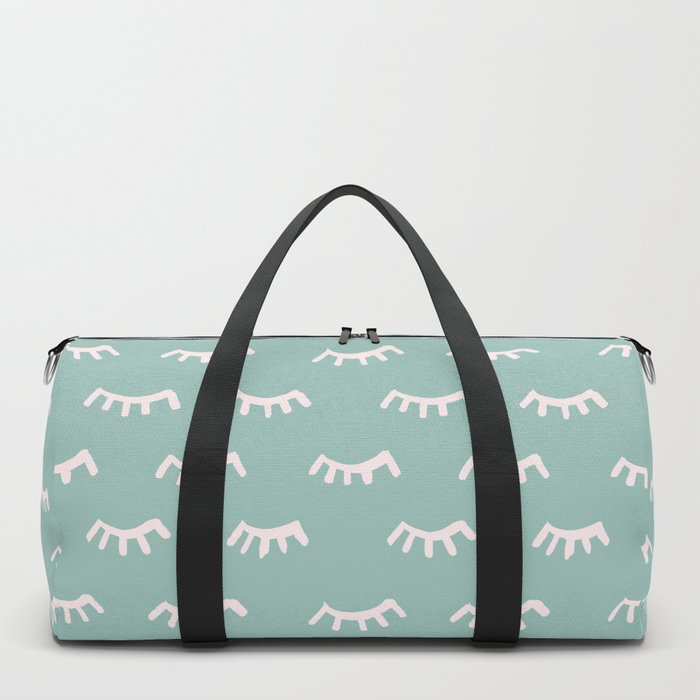 Mint Sleeping Eyes Of Wisdom - Pattern - Mix & Match With Simplicity Of Life Duffle Bag