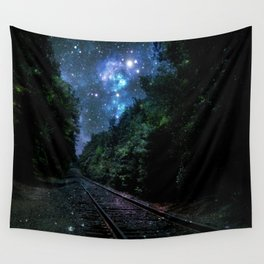 Train Tracks : Next Stop Anywhere Blue Side View Wall Tapestry