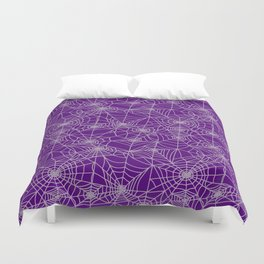 Purple Cobwebs Duvet Cover