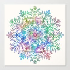 Nature Mandala in Rainbow Hues Canvas Print