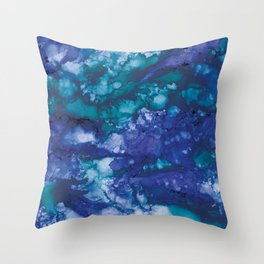 Rough Sea - Alcohol ink drawing Throw Pillow