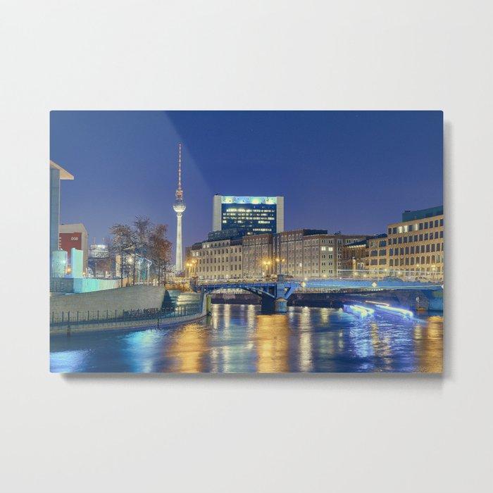 Berlin. Spree at night Metal Print