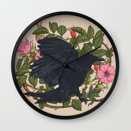 Raven and roses Wall Clock