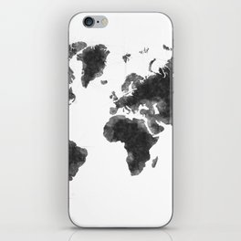 World Map Black Sketch, Map Of The World, Wall Art Poster, Wall Decal, Earth Atlas, Geography Map iPhone Skin