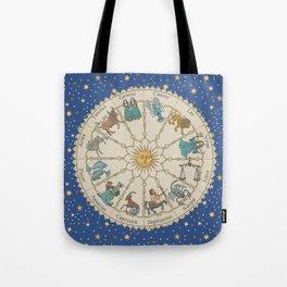 Vintage Astrology Zodiac Wheel Tote Bag