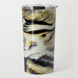 Arnie The Cat Woodblock Style Travel Mug
