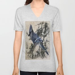 elegant christmas winter snow bird pine tree nature landscape blue jay Unisex V-Neck