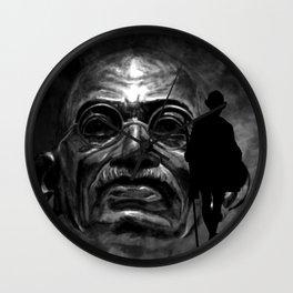 Gandhi - the walk - black Wall Clock