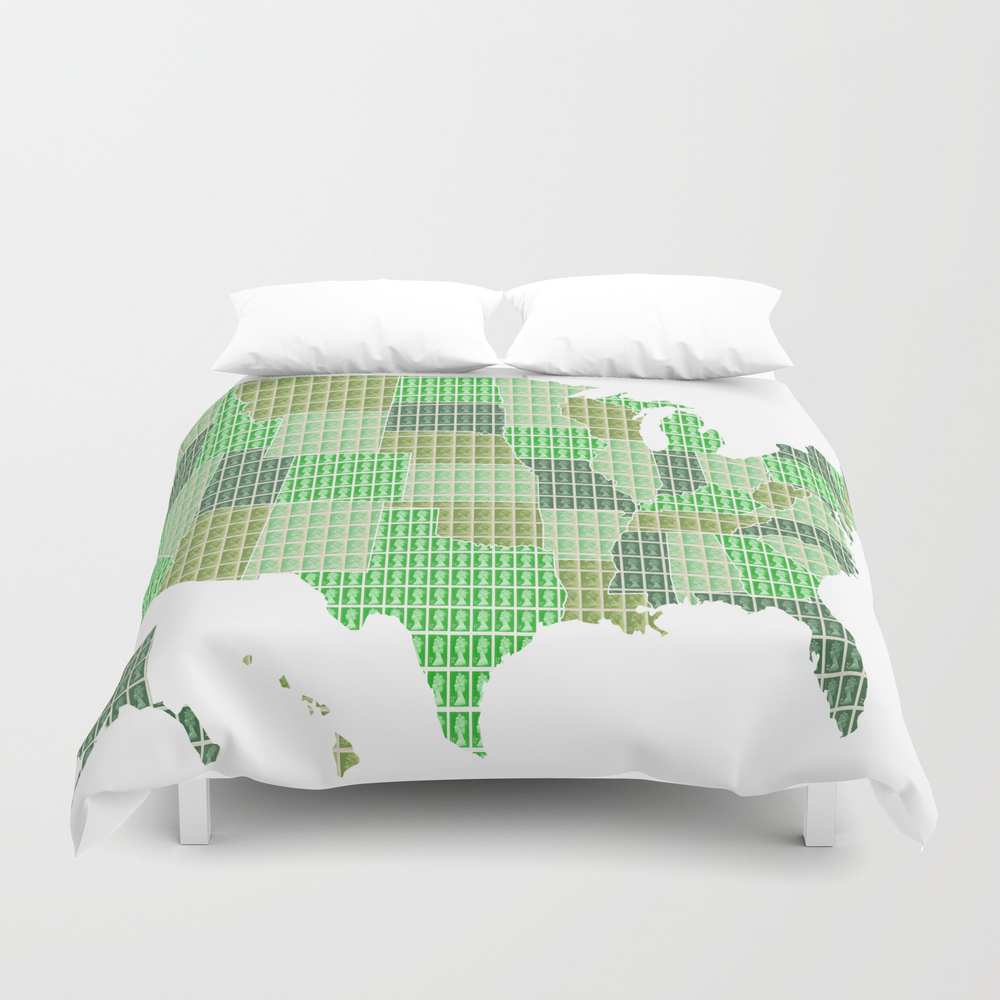 United States Map - Green Duvet Cover by Cocksoupart DUV8099215