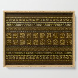 Maya Calendar Glyphs pattern Gold on Brown Serving Tray