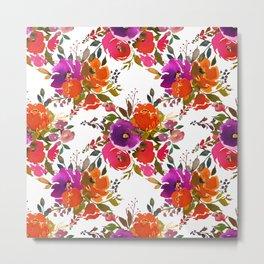 Orange violet lilac watercolor hand painted floral pattern Metal Print