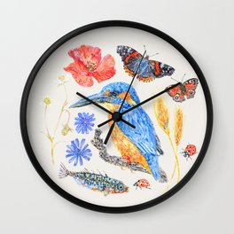 Summer Wildlife - Neutral Wall Clock