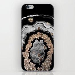 Gray Black White Agate with Gold Glitter on Black #1 #gem #decor #art #society6 iPhone Skin