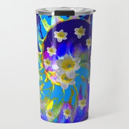 MODERN ART GARDEN BLUE SPIRAL &  DAFFODILS ART Travel Mug