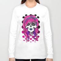 rockabilly Long Sleeve T-shirts featuring 'Rockabilly skull' by NeonStarr