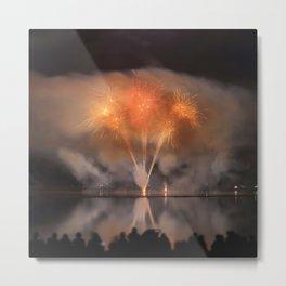 People watch Fireworks Display Metal Print