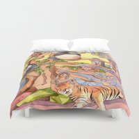 asia Duvet Covers featuring Asia by Emelinedou