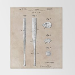 patent Taylor Streamlined baseball bat or the like 1938 Throw Blanket