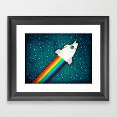 Unicorn Rainbow Rocket Framed Art Print