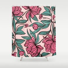Floral Obsession (pink peonies vintage flowers pattern) Shower Curtain