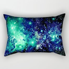 Fox Fur Nebula Galaxy Teal Midnight Blue Rectangular Pillow