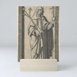 Saint Catherine of Siena standing holding flowers and book in her right hand, a heart and crucifix i Mini Art Print