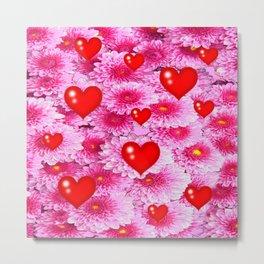 Red Valentines & Pink Flowers Art Metal Print