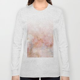 Beautiful Pink and Gold Ombre marble under snow Long Sleeve T-shirt