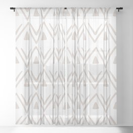 Etched Zig Zag Pattern in Tan Sheer Curtain