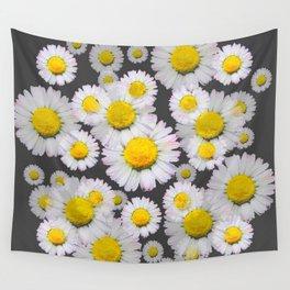 CHARCOAL GREY GARDEN OF SHASTA DAISY FLOWERS Wall Tapestry