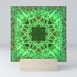 Ornate Green Celtic Mandala Rug Mini Art Print
