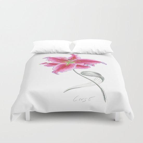 Lily 02 Botanical Flower * Pink Stargazer Rubrum Lily  Duvet Cover