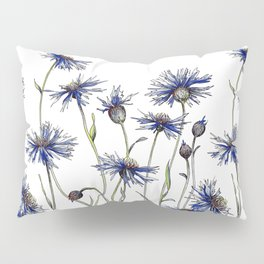 Blue Cornflowers, Illustration Pillow Sham
