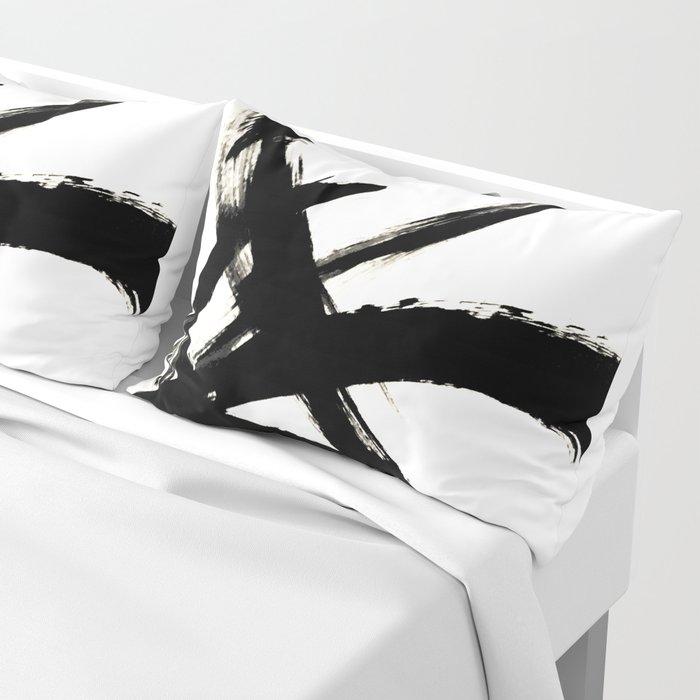 Brushstroke 3 - a simple black and white ink design Kissenbezug