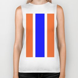 TEAM COLORS 10....ORANGE AND BLUE Biker Tank