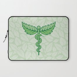 Caduceus with leaves Laptop Sleeve