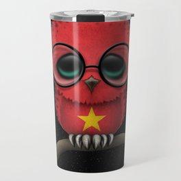 Baby Owl with Glasses and Vietnamese Flag Travel Mug