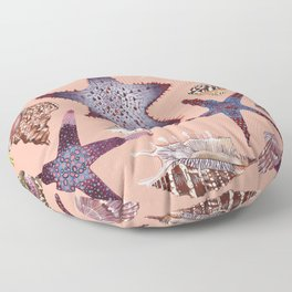 SEASHELLS & STARFISH (LIGHT PINK) Floor Pillow
