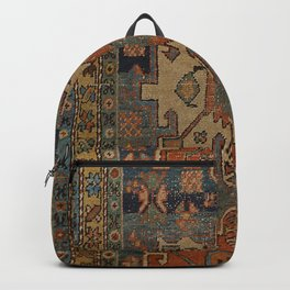 Persia Heriz 19th Century Authentic Colorful Orange Blue Green Vintage Patterns Backpack