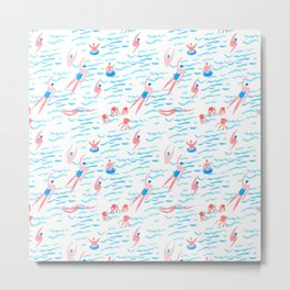 swimmers in the sea pattern Metal Print