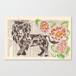 Kings of Africa  (Lion and Protea flowers on dictionary page) Canvas Print