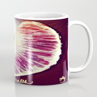 health Mugs featuring Blood Red Orange Heart Health by ANoelleJay