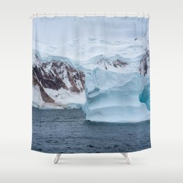 Antarctica, antarctic Peninsula, after crossing the circle line. beautiful Landscape along the Bouregois Fjord with floating Icebergs and ice floes. Shower Curtain